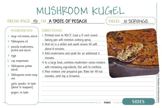 Free Passover Recipe Cards Download!   The Official ArtScroll Blog