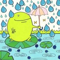 かえると傘のイラスト