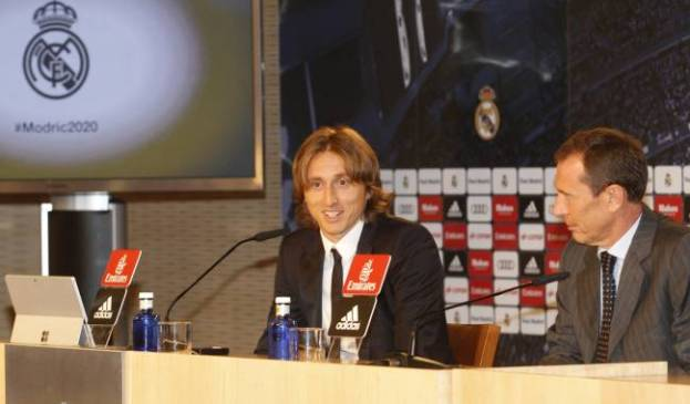 Luka Modric and Emilio Butragueño in today's press conference.