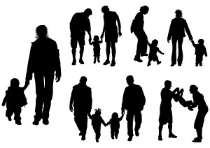 Silhouettes of parents with baby, vector illustration