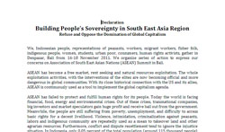 Building People's Sovereignty in South East Asia Region
