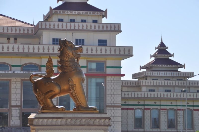 Statue of a dragon in front of government buildings, Nay Pyi Taw, Myanmar