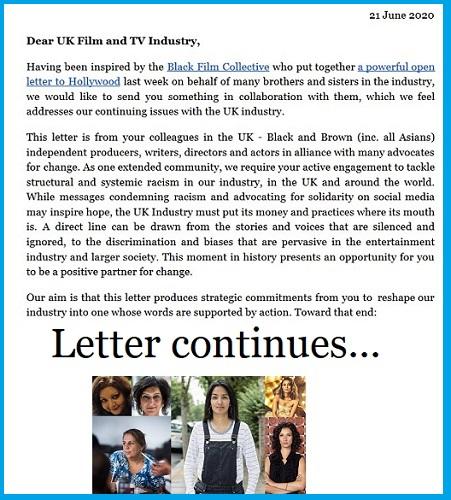 Gathering support for open letter calling for real change on diversity in the film and TV industry – and organised by Asian women creatives…