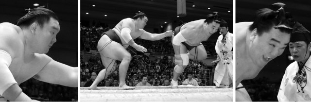 Hakuho and Harumafuji one second after the start of their bout in March.