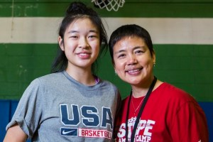 Plano West Senior High School basketball player Natalie Chou and her mother, Quanli Li, on January 13, 2016, at Q D Recreation Academy in Plano, Texas. (Ashley Landis/Dallas Morning News/TNS)
