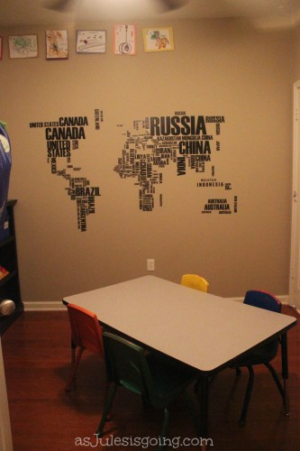 World Map in School Room