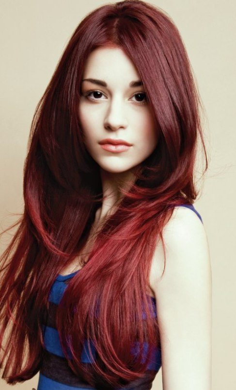 Deep Red Layered Hair Layered Hairstyles For Long Hair Askhairstyles
