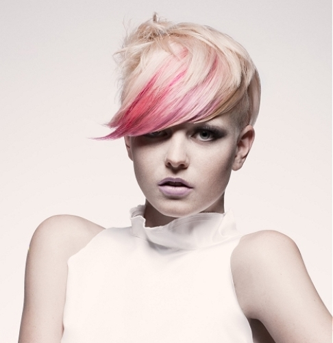 Pink Highlight for Pixie Haircut with Bangs-Highlights Short Hair