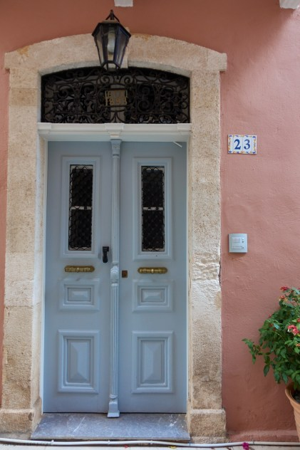 pastel blue door at Rethymno, Crete, Greece