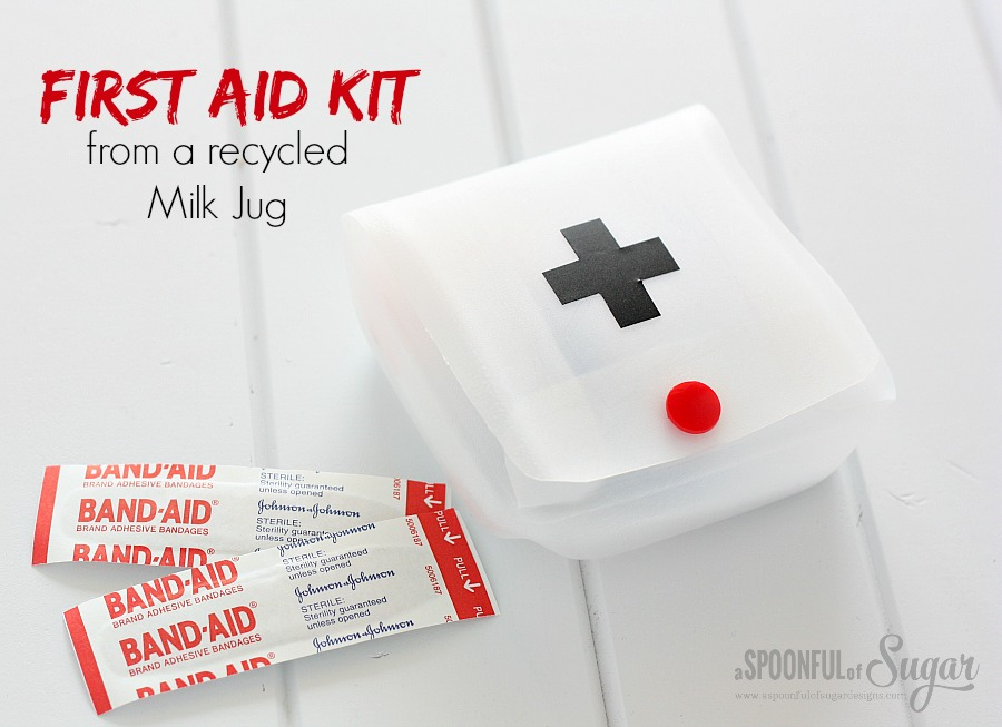 First Aid Kit from recycled milk jug