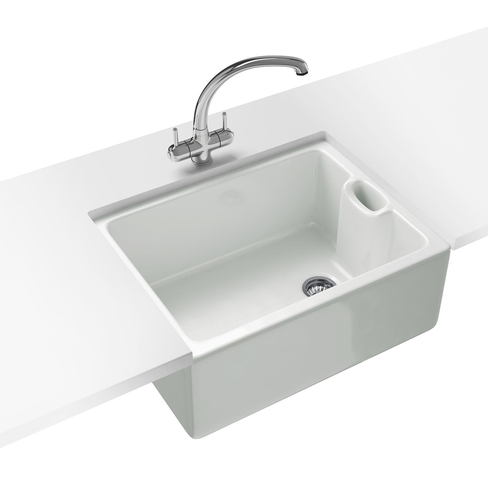 white kitchen sink Belfast Propack BAK Ceramic White Kitchen Sink And Tap