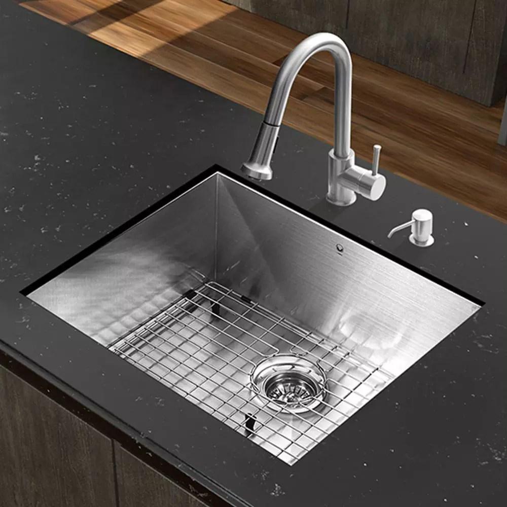 VG undermount kitchen sinks Vigo Industries VG 23 Inch All in One Undermount Kitchen Sink Set with 9 7 8 Inch Basin Depth 16 Gauge Stainless Steel Pull Out Faucet