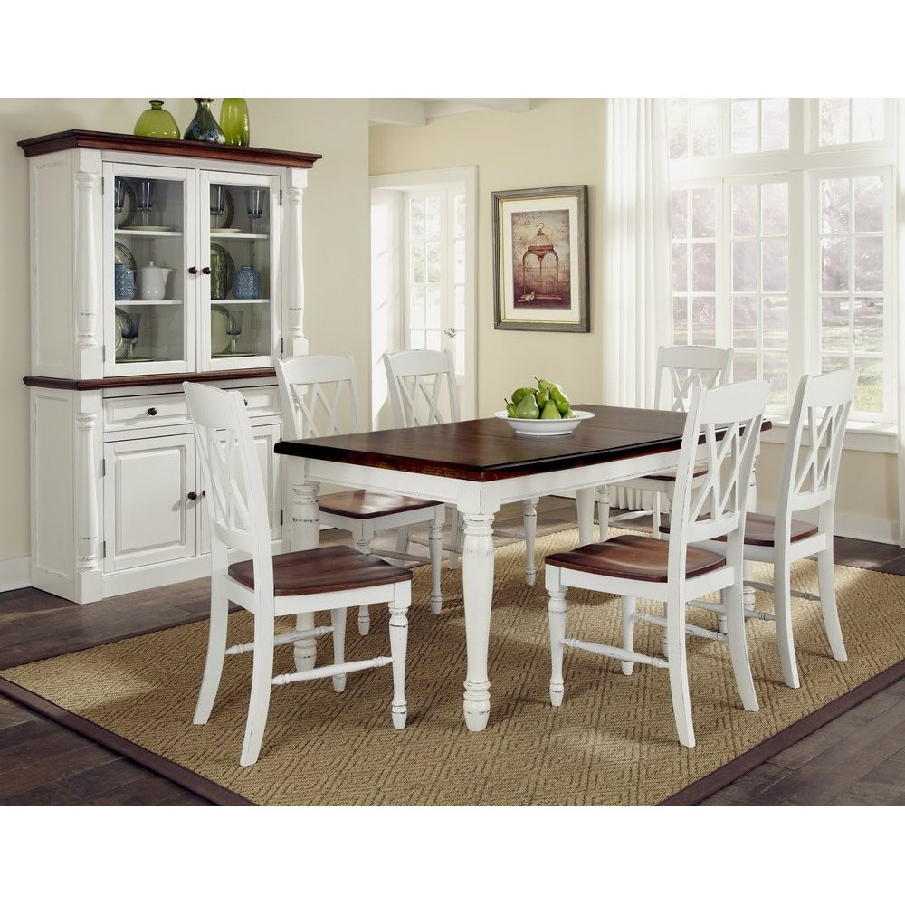 monarch rectangular dining table and six double back chairs white kitchen table Monarch Rectangular Dining Table and Six Double X back Chairs Homestyles