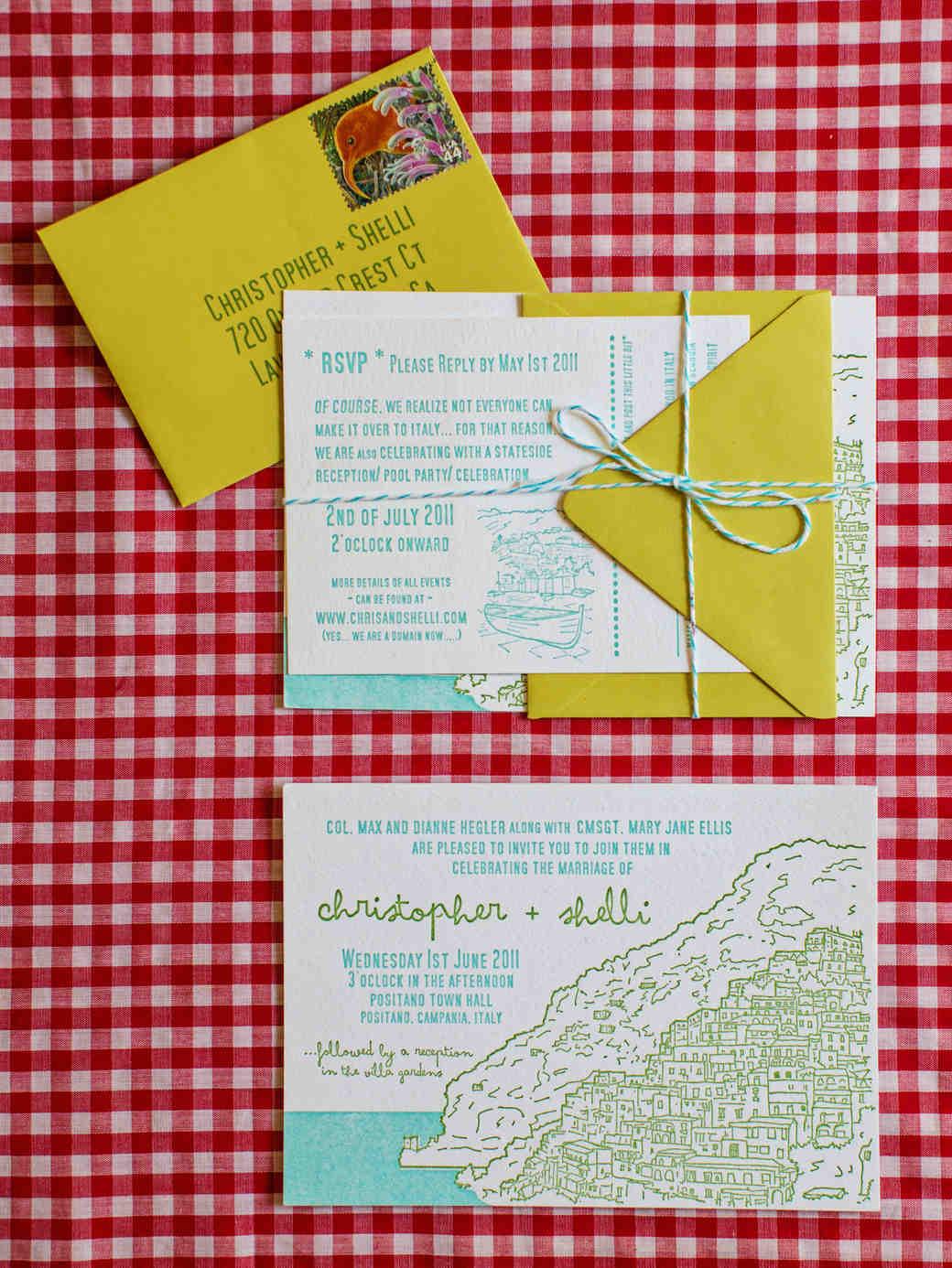 destination wedding invitations destination wedding invitations Amalfi Coast Inspired Wedding Invitation