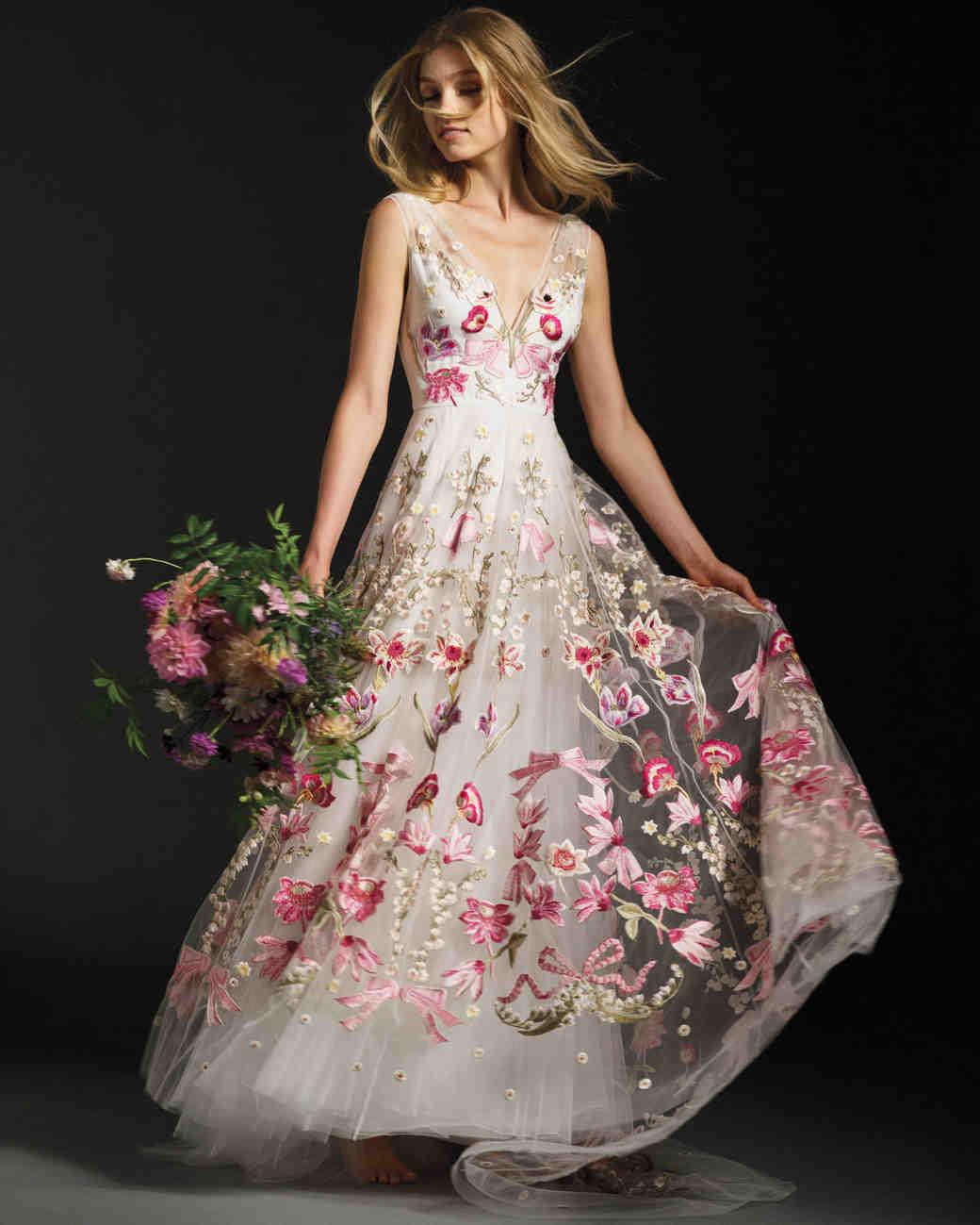 colored wedding dresses colored wedding dress Colorful Wedding Dresses That Make a Statement Down the Aisle Martha Stewart Weddings