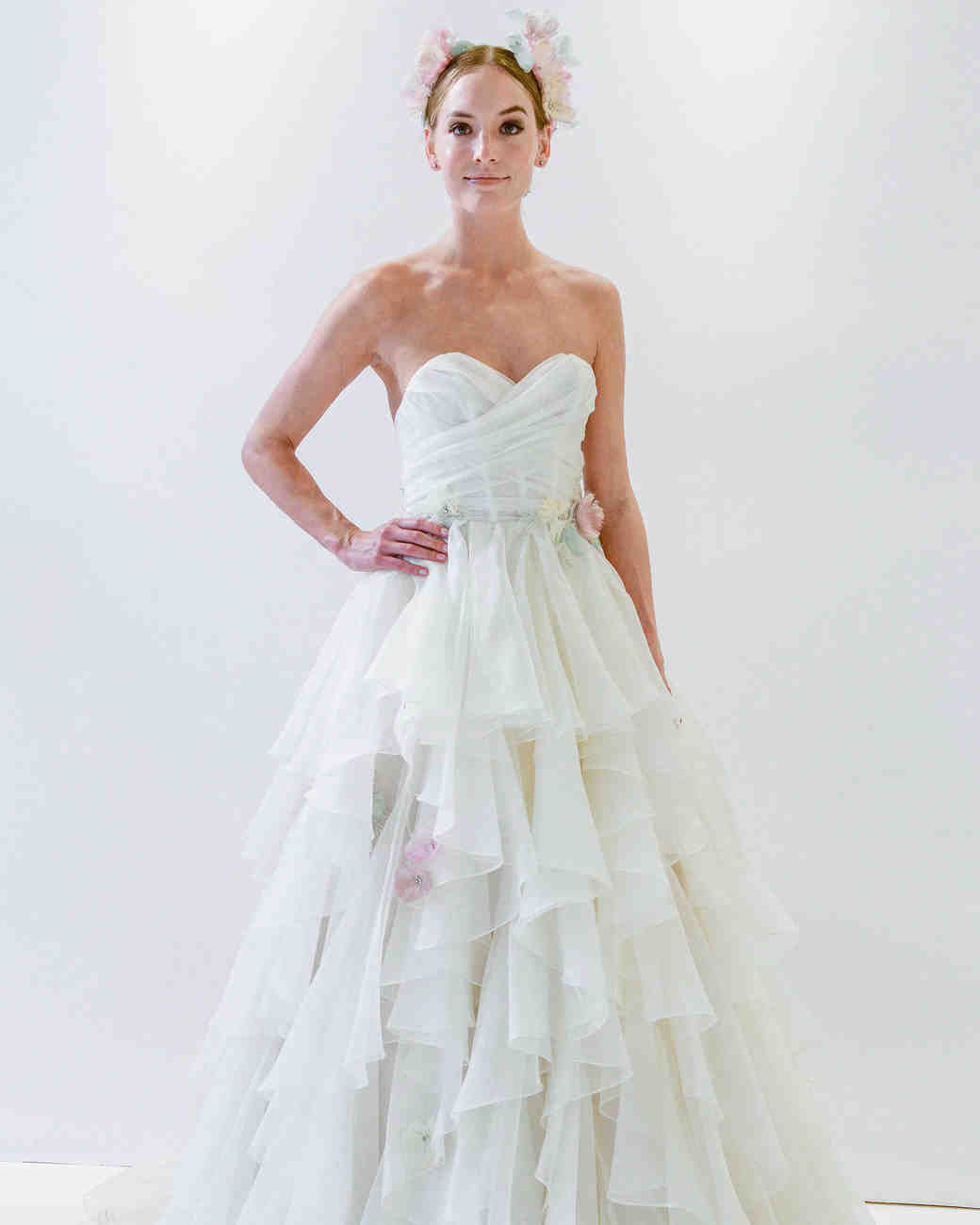 bridal fashion shows colored wedding dress watters sweetheart wrap wedding dress spring