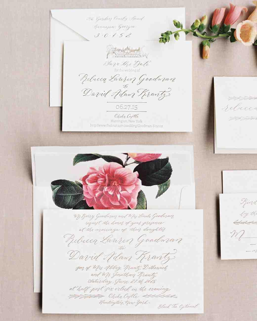 best spring wedding invitations wedding invitation suites Elegant Spring Invitations with Camellia Flower Envelope Liners