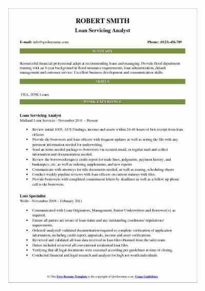 Loan Analyst Resume Samples | QwikResume