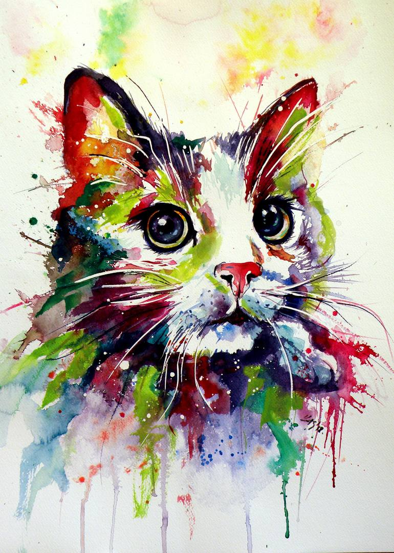 Saatchi Art  Colorful cat Painting by Kovacs Anna Brigitta     Saatchi Art Artist Kovacs Anna Brigitta  Painting     Colorful cat     art