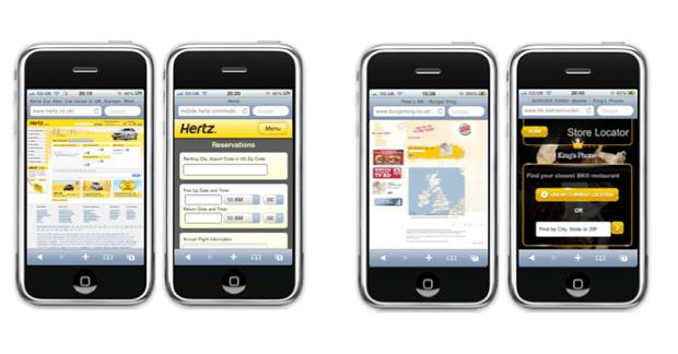 Desktop and mobile versions of Hertz reservation form and Burger King store locator form