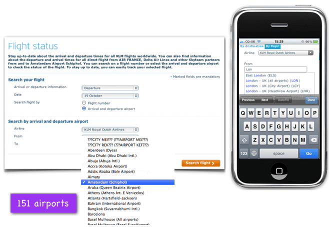 KLM flight tracker: Replacing a long drop down menu with a free text predictive search