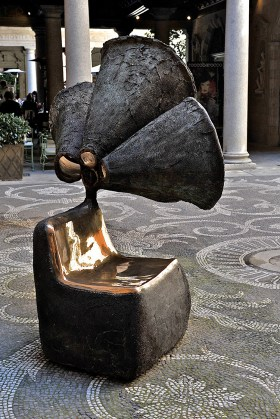 Museo Bagatti Valsecci Milan courtyard, with sculpture by Nacho Carbonell | Photo by Nick Hughes for Yellowtrace.