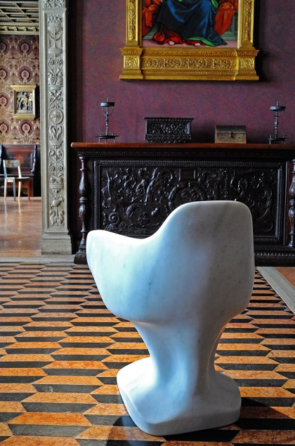 Museo Bagatti Valsecci Milan, X Marble Chair by Studio Libertiny | Yellowtrace.
