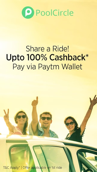 Get 100% cashback on your 1st Pool circle ride when you pay via Paytm wallet