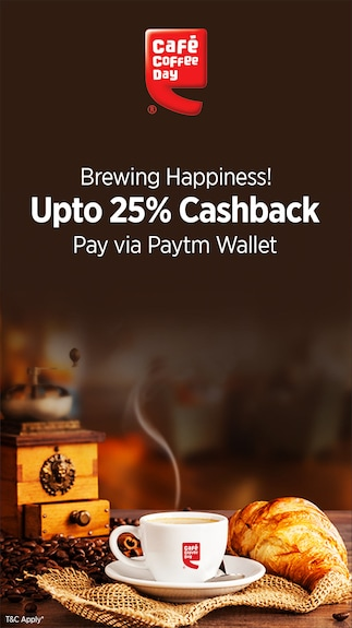 Get 25% cashback when you pay via paytm wallet @ Cafe coffee day
