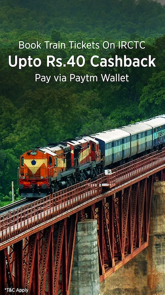 Get upto Rs. 40 cashback when you pay via Paytm Wallet @IRCTC E-Ticket