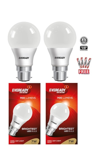 Eveready 7 Watt 6500K Pack of 2 With 4 Pc free Batteries