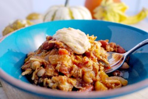 Shredded Chicken & Pumpkin Beer Chili