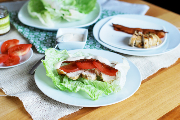 Chicken Club Lettuce Wraps with Roasted Garlic Mayo