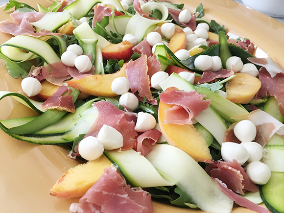 Prosciutto, Peach & Mozzarella Salad | A Sunshiny Day