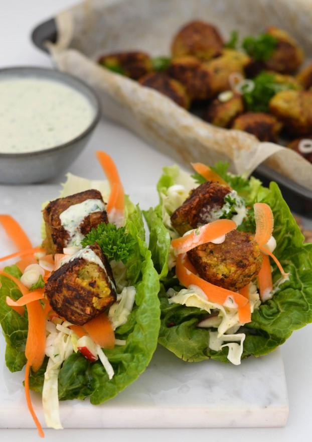 Vegan veggie falafels in lettuce wraps - A Tasty Love Story