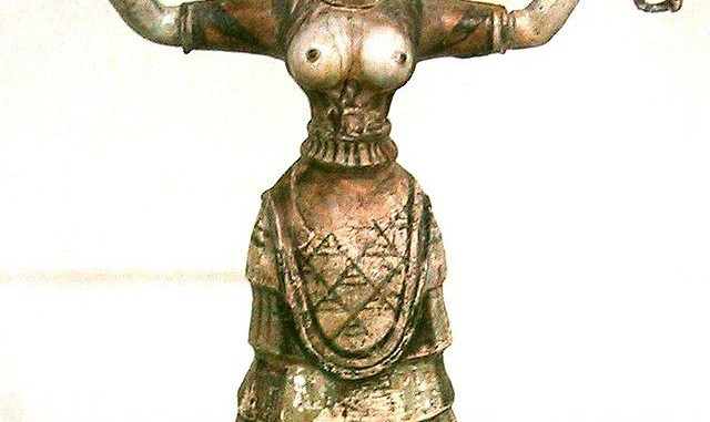 Snake Goddess or a priestess performing a ritual.