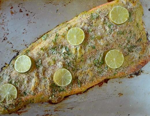 Simple Almond Cilantro Lime Crusted Salmon 1