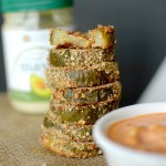 Need a little spice in your life? Make these healthy Spicy Fried Pickles with Sriracha Mayo Dipping Sauce! Baked instead of fried and paleo-friendly!