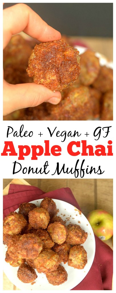Satisfy your donut cravings with these Apple Chai Donut Muffins! Full of chai tea and apple flavor without the grains and refined sugar! Paleo + Vegan option!