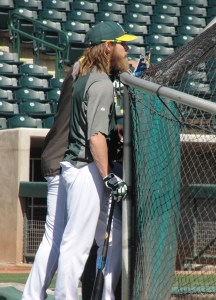 Josh Reddick awaiting his turn in the cage