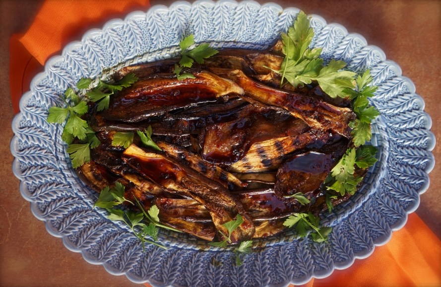 Grilled Eggplant with Honey & Harissa (Moroccan Feast)