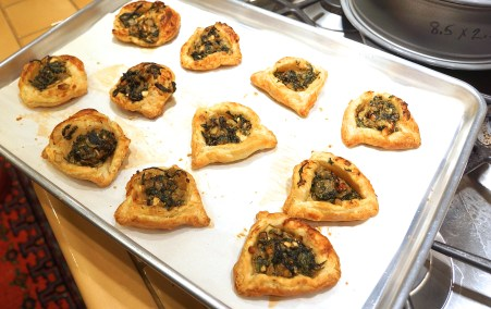 Pull up the sides to make a pyramid by pinching the edges with your fingertips. Place on parchment-lined baking sheets.