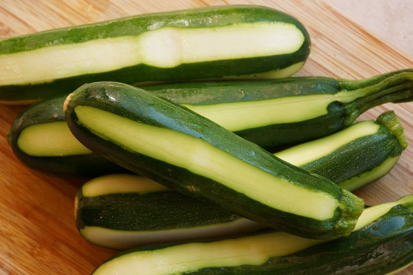 Wash the zucchini and using a vegetable peeler or small knife remove strips of the peel, making them striped.