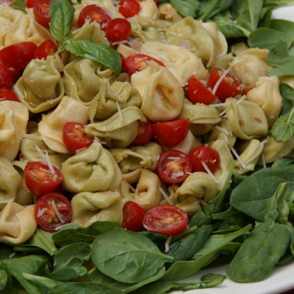 Tortellini Salad with Spinach & Cherry Tomatoes (Baby Shower Luncheon)