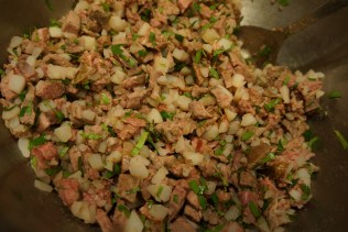 Combine cubed lamb, potatoes, cooked onions and cilantro in baking dish.