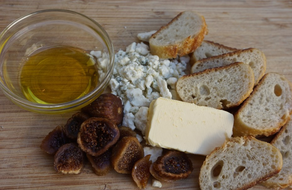 The nice thing about this recipe is that you can toast the crostini and combine the gorgonzola and butter in the morning, and put them together just before your guests arrive.