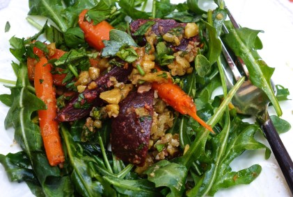 This salad is really all about the dressing. It flatters the carrots and beets and surprisingly calls you back for just another taste.