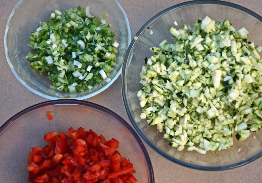 You need to cut your vegetables smaller than you might when making a large frittata.