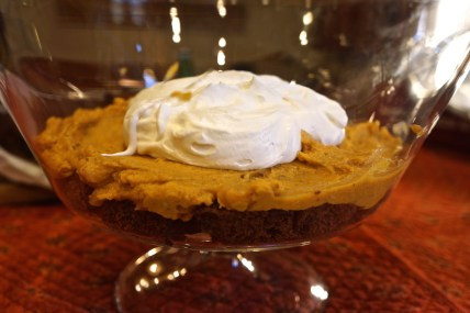 Top with half of the Pumpkin Mousse, then half of the Whipped Cream.