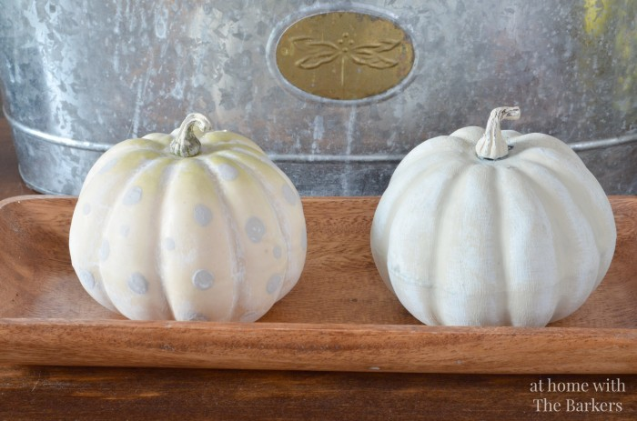 Painted Pumpkins, layering paint techniques, dots and white washed